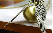 NEW Wholesale Hot Golden Snitch Pocket Watch Necklace Silver Double Sided Wings