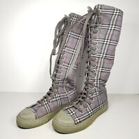 Womens Knee High Canvas Lace Up Shoes Criss Cross Tartan Pattern Size EU 38 AU 8