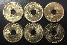NUMISMATICA BILBAO 25 PESETAS 1993+1994+1995+1996+1997+1998 ESPAÑA SIN CIRCULAR