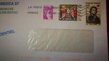 """3 timbres oblitérés sur lettre , dont """" Clovis"""" et """" Dominique Larrey """""""