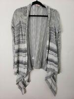 Mossimo Womens Cardigan Size Medium Open Gray Striped Flyaway Long Sleeve