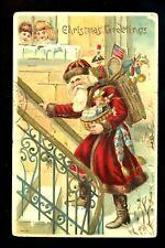 Christmas Santa greetings postcard toys doll jester children Vintage 1908