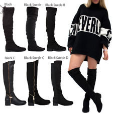 WOMENS LADIES KNEE THIGH HIGH LOW FLAT HEEL OVER THE KNEE STRETCH BOOTS SIZE