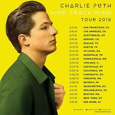 "Charlie Puth ""Nine Track Mind Tour 2016"" North America Concert Poster - Pop, R&B"