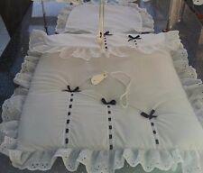 Cochecito del lecho del conjunto para caber Cruz de Plata en Blanco/con arcos Azul Marino