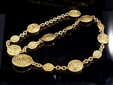100% Authentic CHANEL Gold-Tone Chain Medallion Belt K89