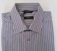 Paul Smith Shirt Size 15.5 LARGE The Bryard Brown Blue Multi Stripes