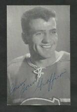 LATE 1950'S  MONTREAL CANADIENS  BERNARD GEOFFRION   AUTOGRAPHED  POST CARD HOF
