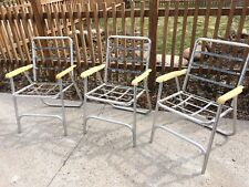 Lot of 3 Vintage Aluminum Plastic Springs Webbed Folding Lawn Chairs Glamping