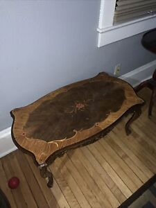 Antique coffee table wooden inlaid design