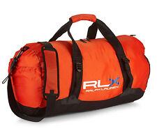 New POLO RALPH LAUREN RLX Nylon Sport Duffel Gym Bag - Orange/Black $125