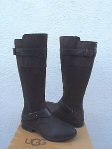 UGG TALL DAYLE LODGE BROWN LEATHER/ WOOL BUCKLE BOOTS, US 7.5/ EUR 38.5 ~NEW