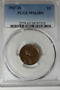 1927-D  PCGS 1C MS63BN,   Lincoln Head Cent, Old Copper, Lincoln One Cent