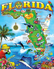 Greetings Florida Map Vacation Souvenir 54x68 Oversized Bath Pool Beach Blanket