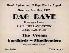 ERIC CLAPTON CREAM YARDBIRDS REPRO 1967 RAG RAVE 6 MAY CONCERT TICKET NOT CD DVD