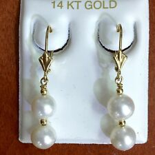 14K Solid Yellow Gold Double Ball Pearl Dangle Drop Leverback Earrings