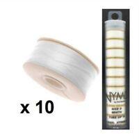Nymo Beading Thread Size D - White - 10 bobbins per tube, 64 Yards per bobbin
