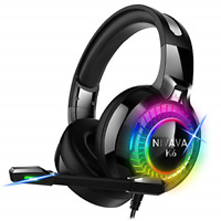 Nivava Gaming Headset for PS4, Xbox One, PC Headphones with Microphone LED Light