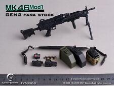 CRAZY DUMMY Machine Gun MK46 MOD1 GEN2 Para Stock 1/6 Black