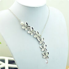 Women's Necklace Pendant 925 Silver Plated Trailing Orchid Flower Pearl