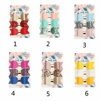 3pc Mermaid Hair Bows Glitter Leather Hair Clip Headband Princess Hairpins