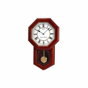 Seiko Oak Wooden Battery Westminster Chime Wall Clock with Pendulum QXH110B