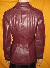 Red Brown leather Front Button Jacket coat AVANT GARDE 1980s Vintage JUNIORS 7 8