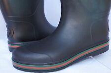 New Gucci Mens Boots Logo Rubber Shoes Rain High Size G 9 Old Lai Black