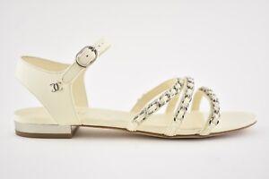 NIB Chanel 18P Ivory Silver Chain CC Gladiator Strap Mule Slide Flat Sandal 35.5