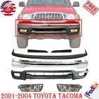Front Bumper Chrome Kit Fillers Fog Lights For 2001-2004 Toyota Tacoma 4wd