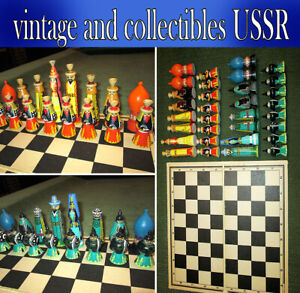Very rare chess of the USSR (wooden) hand-painted 1970's, vintage