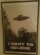 Original X-Files I Want to Believe Poster UFO Signed 5 Signatures Gilligan Mr X