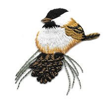 Chickadee - Bird - Pinecone - Fully Embroidered Iron On Applique Patch