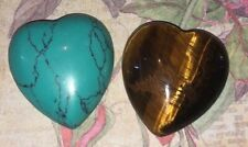 Set of 2 Heart Cut Quartz Crystal Gemstone Worry Stones TIGERS EYE & TURQUOISE