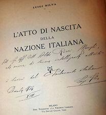 Silva: Atto di Nascita della Nazione Italiana 1926 con dedica autore e incisioni