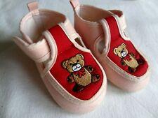 ? Baby Stoff Schuhe / Hausschuhe in Gr. 18 + ? mit besticktem Teddy