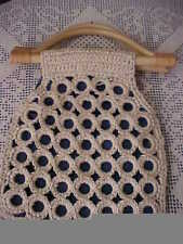 Mary Kate and Ashley Childs Purse Wooden Handles Straw Paper Crochet Navy Cotton