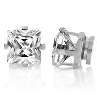 Silver Square Crystal Magnetic Earrings Magnet Stud Clip on Women Girls Men 6mm