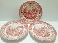 Royal Art Red Plates Made In Staffordshire England set of 3