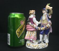 Elegant Antique 19th Century German Meissen Porcelain Statue of Couple Dancing