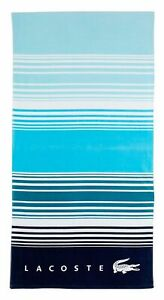NWT LACOSTE OCEAN BLUE TEAL STRIPE COLOR BEACH POOL VACATION TOWEL 36 X 72