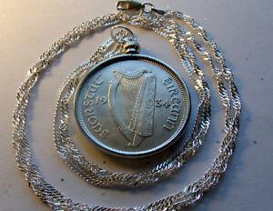 "1934 IRISH SILVER HORSE 2s 6d Coin PENDANT 24"" 925/1000 Italian Wavy Twist Chain"