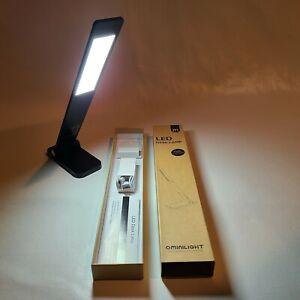 Ominilight LED Desk Lamp L1-D2174 Black Satin Aluminum USB Charge NIB