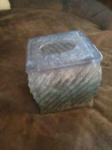 Manor Hill Acrylic Sparkle Smoky Tissue Box Cover Glitter RARE