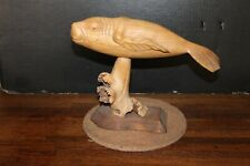 "Vintage 11"" Long Hand Carved Soild Wood ""Manatee"" Sculpture"