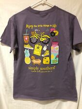 Simply Southern Women's Short Sleeve T-Shirt Plum Size 2XL Little Things In