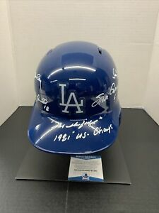 1981 DODGERS INFIELD SIGNED FULL SIZE HELMET GARVEY, CEY, LOPES, RUSSELL BAS