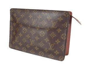 LOUIS VUITTON Homme Monogram Canvas Leather Clutch Bag LP4620