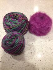 Mixed Yarn Lot - Lorna's Laces & Mohair - Green - Purple - Hat Kit
