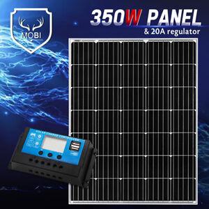 350W Fixed Solar Panel Mono Cell With 20A 12V 24V PWM Regulator Dual USB